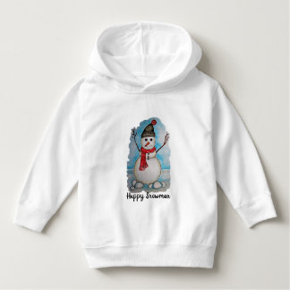 Gorgeous watercolor snowman with scarf and hat hoodie