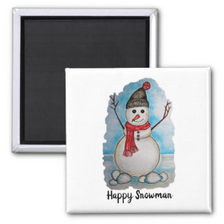 Gorgeous watercolor snowman with scarf and hat magnet