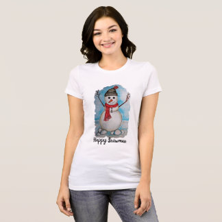 Gorgeous watercolor snowman with scarf and hat T-Shirt