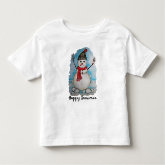 Gorgeous watercolor snowman with scarf and hat toddler t-shirt