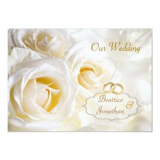 Gorgeous White cream roses Wedding Invitation