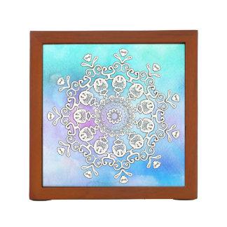 *~* Gorgeous White Mandala on Turquoise Watercolor Desk Organizer