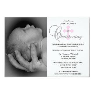 Gorgeous White Pink Cross Girl PHOTO Christening Card