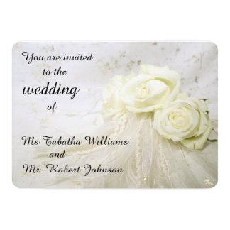 Gorgeous White Roses Wedding Invitation