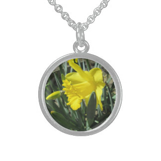 Gorgeous Yellow Daffodils Sterling Silver Necklace