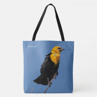 Gorgeous Yellow-Headed Blackbird on a Windy Day Tote Bag