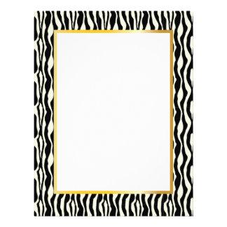 Gorgeous Zebra Border Stationery - Gold Letterhead Design