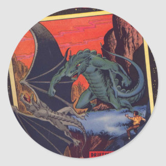 Gorgo vs. Pterodactyl Classic Round Sticker