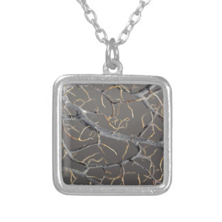 Gorgonian coral silver plated necklace