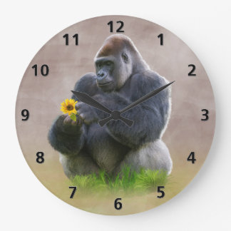 Gorilla and Yellow Daisy Large Clock