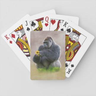 Gorilla and Yellow Daisy Playing Cards
