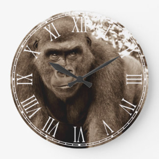 Gorilla Ape Primate Wildlife Animal Photo Large Clock