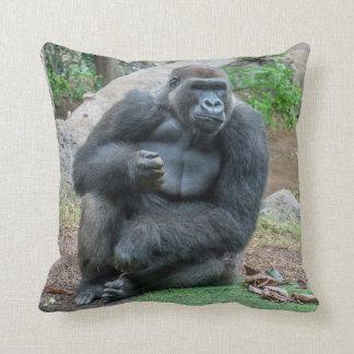 Gorilla at the zoo throw cushion