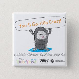 Gorilla crazy! 2 inch square button
