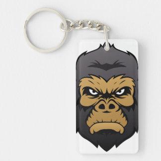 Gorilla Head Cartoon. Double-Sided Rectangular Acrylic Keychain