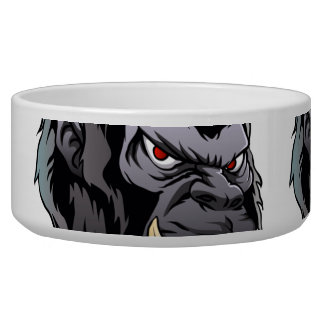 gorilla head illustration dog bowl