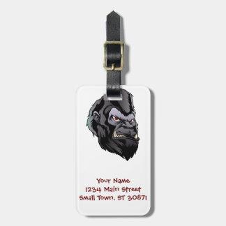 gorilla head illustration luggage tag