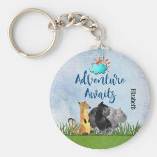 Gorilla Hippo and Meerkat -  Adventure Awaits Basic Round Button Keychain