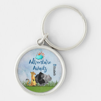 Gorilla Hippo and Meerkat -  Adventure Awaits For Silver-Colored Round Keychain