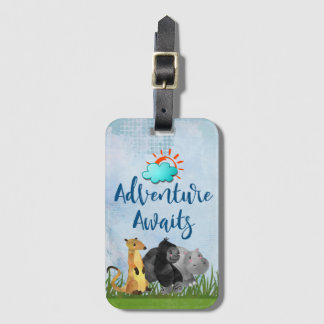 Gorilla Hippo and Meerkat Adventure Awaits Luggage Tag