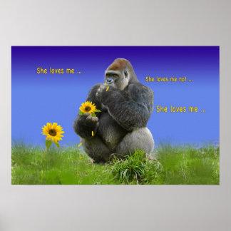 Gorilla in Love Print or Poster