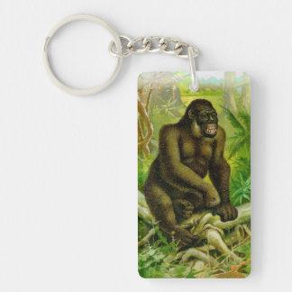 Gorilla in the Jungle Vintage Illustration Single-Sided Rectangular Acrylic Keychain