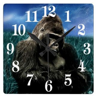 Gorilla in the meadow square wall clock