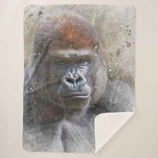 Gorilla in the Midst Photography Modern Watercolor Sherpa Blanket
