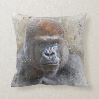 Gorilla in the Midst Photography Modern Watercolor Throw Pillow
