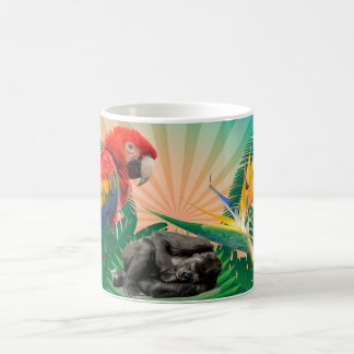 Gorilla jungle parrot coffee mug