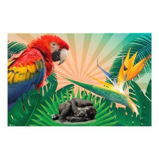Gorilla jungle parrot custom stationery