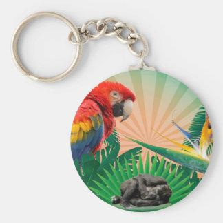 Gorilla jungle parrot keychain