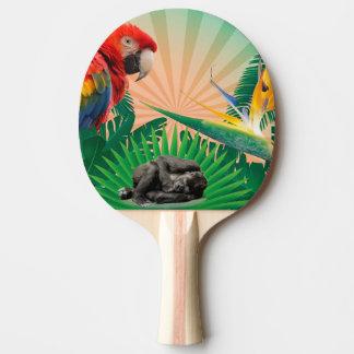 Gorilla jungle parrot ping pong paddle
