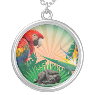 Gorilla jungle parrot silver plated necklace