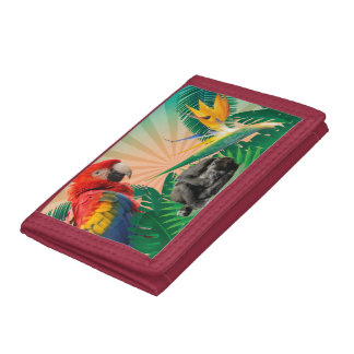 Gorilla jungle parrot tri-fold wallets