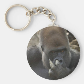 gorilla picking his nose - eeeewwwwwwww! basic round button keychain