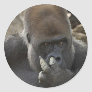 gorilla picking his nose - eeeewwwwwwww! round sticker
