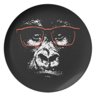 Gorilla Red Glasses Plate