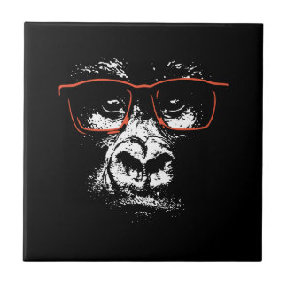 Gorilla Red Glasses Tile