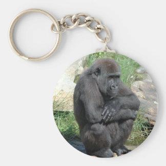 Gorilla Sitting Keychain