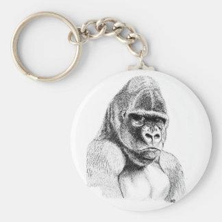 Gorilla Study in pencil Basic Button Key Ring