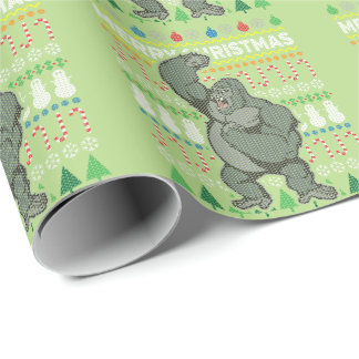 Gorilla Ugly Christmas Sweater Wildlife Series Wrapping Paper