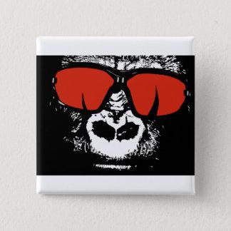 Gorilla with glasses 2 inch square button