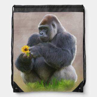 Gorille et marguerite jaune sacs avec cordons
