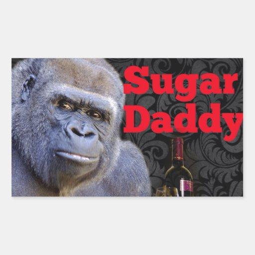 Gorille noir de damassé de papa gâteau stickers en rectangle