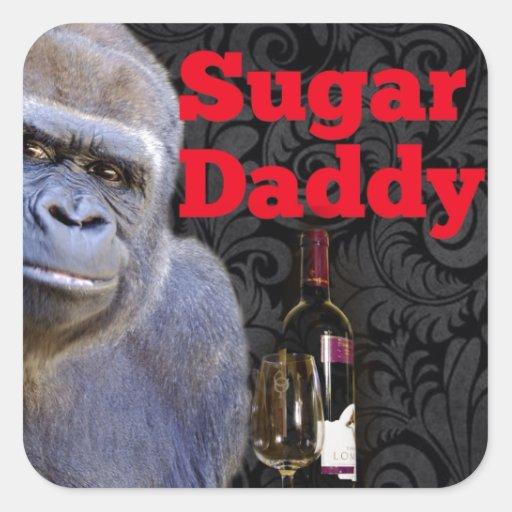 Gorille noir de damassé de papa gâteau stickers carrés