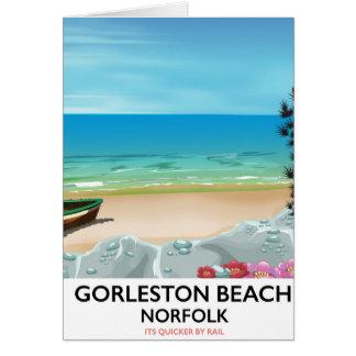 Gorleston Beach Norfolk Rail poster. Card