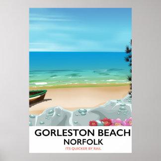 Gorleston Beach Norfolk Rail poster. Poster