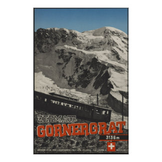 Gornergrat Vintage Travel Poster Ad Retro Prints