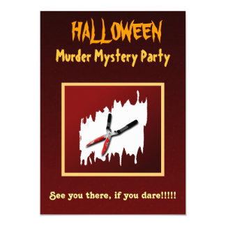 Gory Halloween Murder Mystery Party Invitation